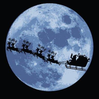 Santa silhouette across moon