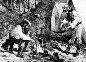 miners around fire
